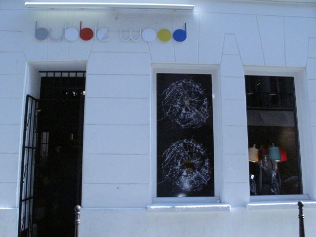 bubble wood store front