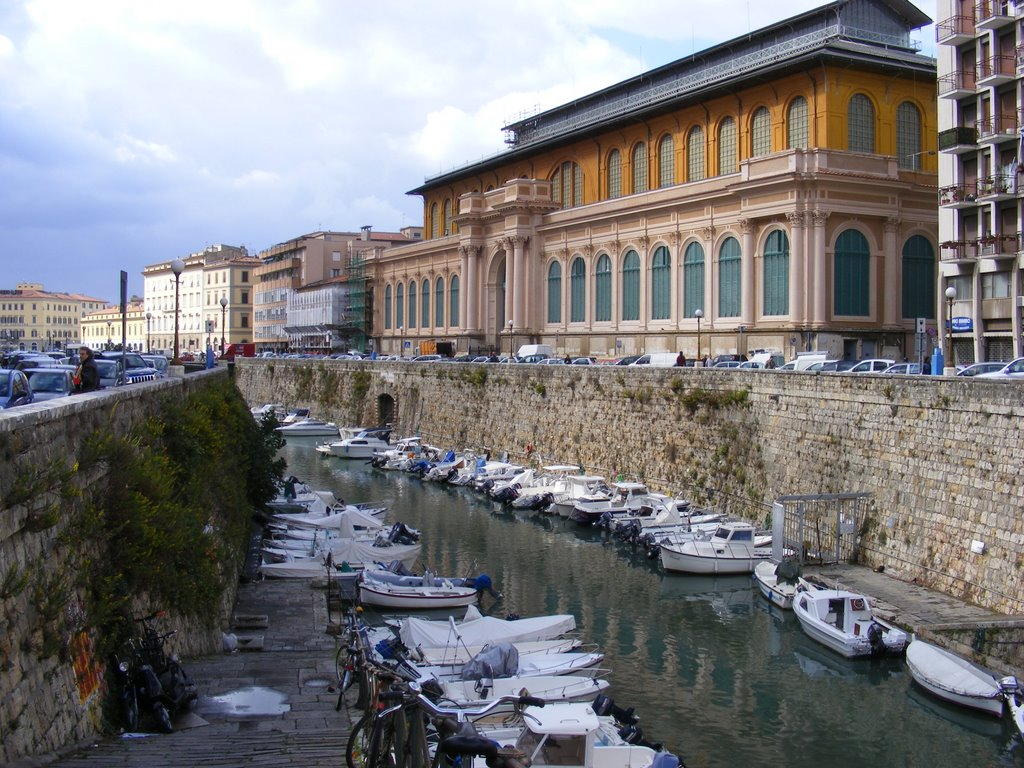 Central Market of Livorno over the main canal of the city, Italy.